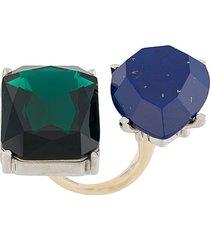 acne studios gemstone embellished double ring - green