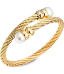 eye candy la women's luxe sibelle goldtone glass pearl wrap cuff bracelet