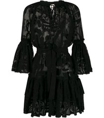 emilio pucci lace beach dress - black