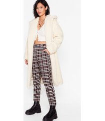 womens searched faux fur and wide longline hooded coat - cream