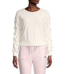 juicy couture women's shirred-sleeve cropped top - cream soda - size m