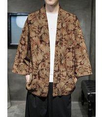 chaqueta de punto con estampado floral de hanfu de estilo chino informal para hombre