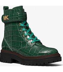 mk stivale combat stark in pelle stampa coccodrillo - muschio (verde) - michael kors