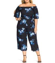 plus size women's city chic indigo floral jumpsuit
