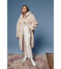 womens oversized faux shearling coat in longline silhouette - cream