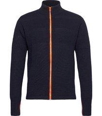 100% wool klemens zip kontrast gebreide trui cardigan blauw mads nørgaard