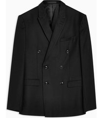 mens black slim fit textured double breasted suit blazer with peak lapels
