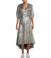 lagarde metallic plaid wrap dress
