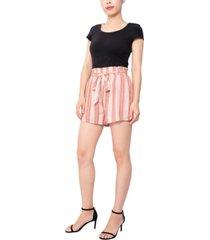 derek heart juniors' paperbag-waist soft shorts
