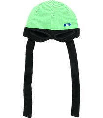 ader error eye-hole detail ribbed hat - green