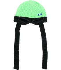ader error eye-hole detail ribbed hat - green