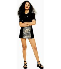 animal print suede mini skirt - black
