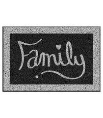 capacho de vinil family preto único love decor