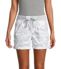 calvin klein women's camo-print stretch-cotton shorts - camo silver - size s
