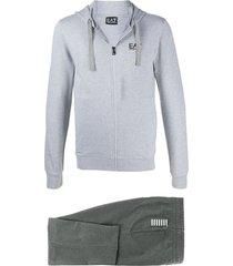 ea7 emporio armani logo print tracksuit set - grey