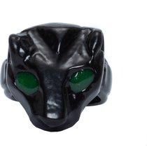 anel feminino pantera - preto