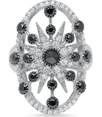colette 18kt white gold large star circle ring - silver