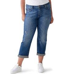 plus size women's dl 1961 riley distressed straight leg boyfriend jeans, size 18w - blue