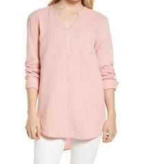women's caslon women's long sleeve high/low tunic, size large - pink