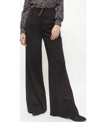 pantalón io pallazo negro - calce holgado