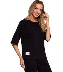 sweater moe m584 pullover top met korte mouwen - zwart