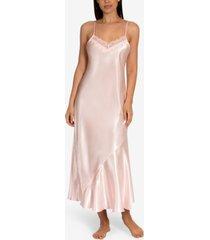 linea donatella lace-trim charmeuse long nightgown
