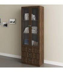armário para escritório 2 portas 3 gavetas nogal  me4114 - tecno mobili
