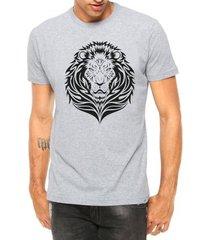 camiseta criativa urbana leão tribal manga curta