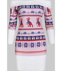 off shoulder christmas knit panel dinosaur graphic sweatshirt