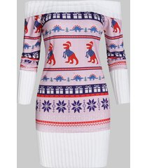 off shoulder christmas knit panel dinosaur graphic sweatshirt