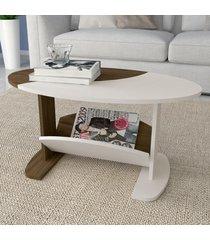 mesa de centro isis com nicho amendoa/off white - artely