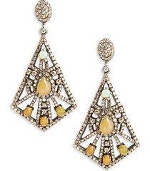 black rhodium-plated sterling silver, opal & diamond drop earrings