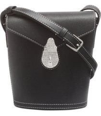 calvin klein lock leather mini bucket bag