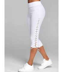 lace up skinny crop leggings