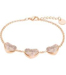 bracciale in acciaio rosato con tre ciondoli forma cuore e strass per donna
