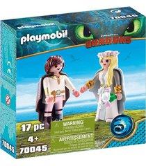 hipo y astrid con traje nupcial 70045 multicolor playmobil