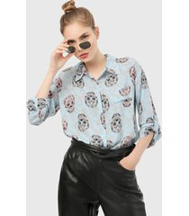 camisa azul-multicolor paris district