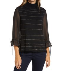 women's ming wang stripe mixed media turtleneck tunic