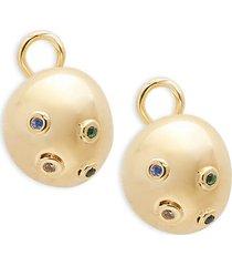 14k gold, black spinel & topaz bubble stud earrings