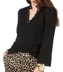 blouse ruffle grommet trim crepe