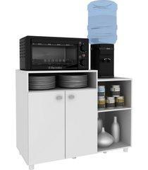 balcão armário multiuso ágatha multimóveis p/ microondas e galão de água com 02 portas branco