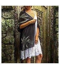 silk shawl, 'midnight bamboo' (indonesia)