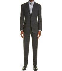 men's big & tall canali sienna soft classic fit plaid wool suit