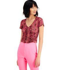 bar iii printed ruched top, created for macy's