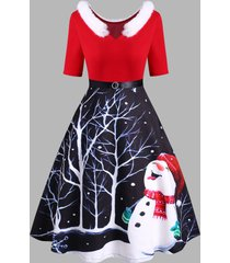 christmas snowman faux fur insert diamante belted v neck dress