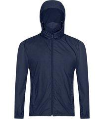 chaqueta antifluido con capota y tapabocas slim fit para hombre 06349