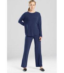 n-lightened top pajamas, women's, blue, size s, n natori