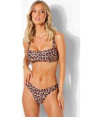 korte luipaardprint bikini top met volle cups en bandjes, leopard