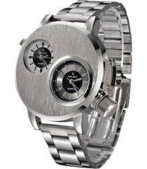 reloj analogico cuarzo hombre doble dial acero fecha 358