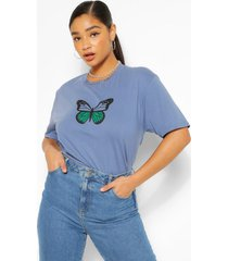 plus monochrome vlinder t-shirt, indigo